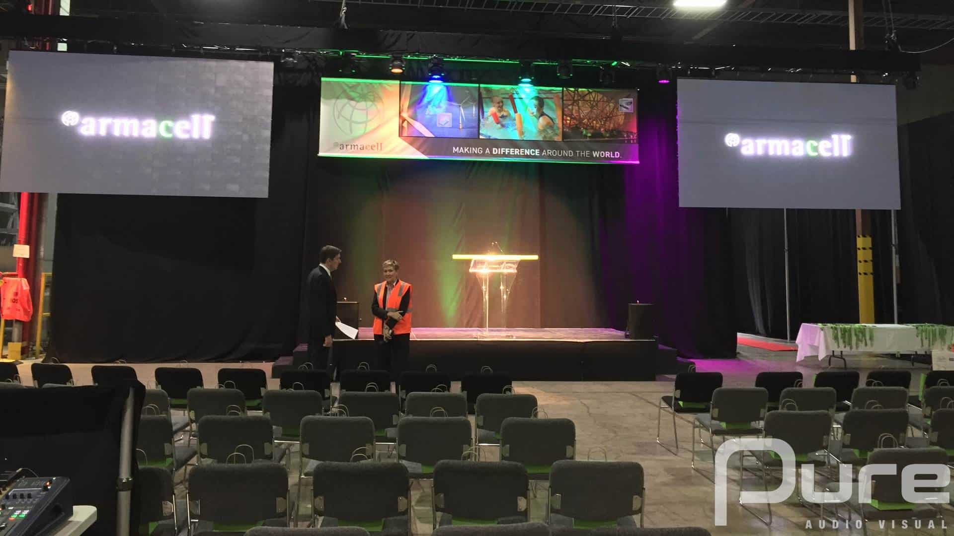 A presentation with a small stage, podium, 2 LED video walls, truss, and auras