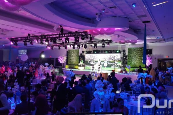 Wedding, LED Video Wall, LED Screen, Truss, Rigging, Moving Heads, MH3 Beam, Mac Aura, Video Camera Crane