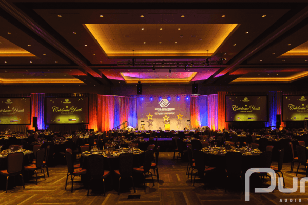 Stage, Truss, Lighting, Projectors, Screens, Projector Screens, Line Array, Screens, Drape