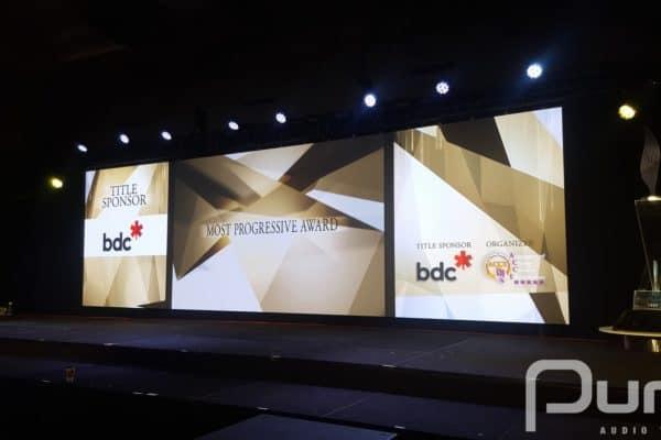 LED wall, LED screens, podium, line array, truss, staging, drape, mac aura, awards gala, gala, av production, audio visual production