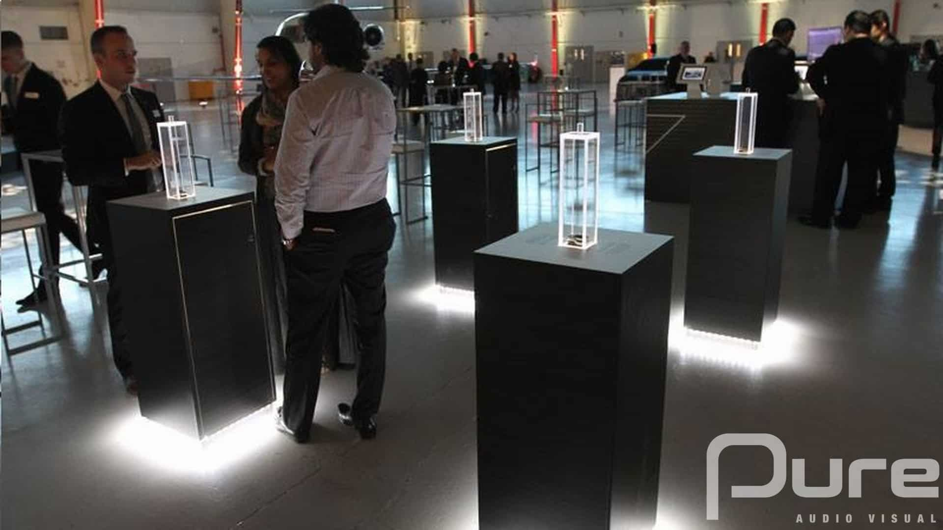 LED Uplights at a product launch event