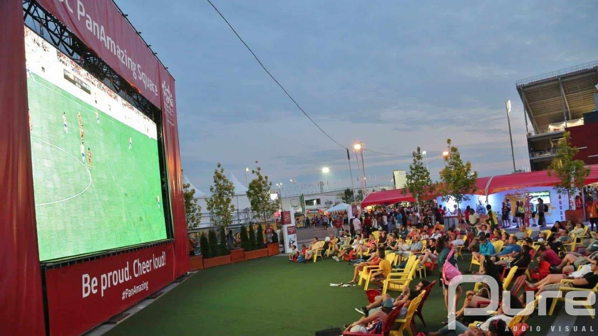 Outdoor weather resistant LED video wall showing sports