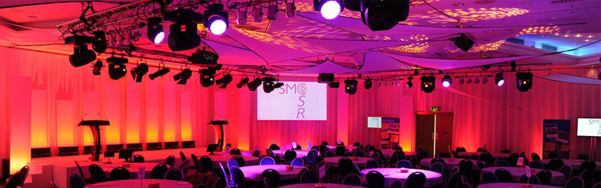 Audio visual, truss, lighting, moving heads, martin mac aura, conference, av, summit, presentation, product launch, projectors, screens, led video walls, speakers, line array, staging