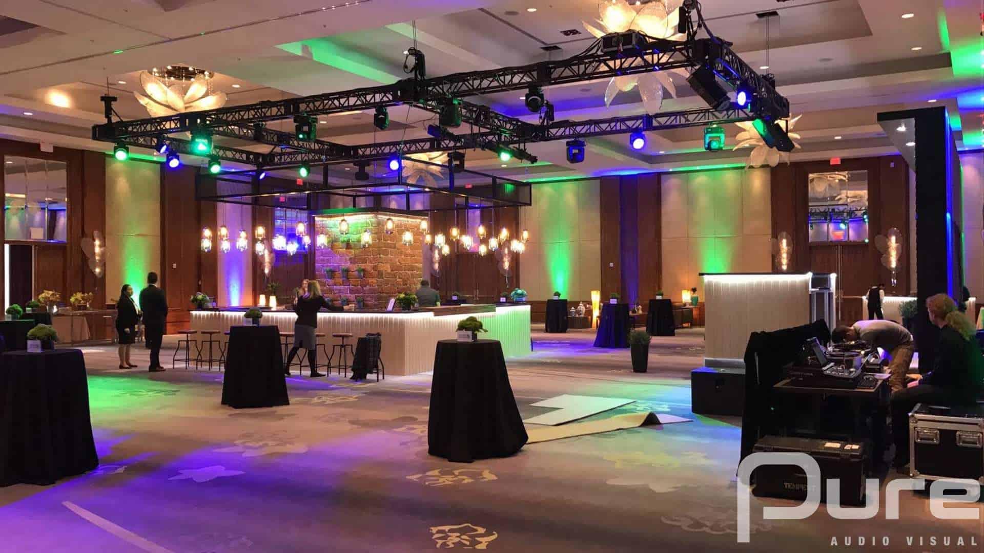 Corporate Event, Lighting, AV, Audio Visual, Truss, Moving Heads, Uplights
