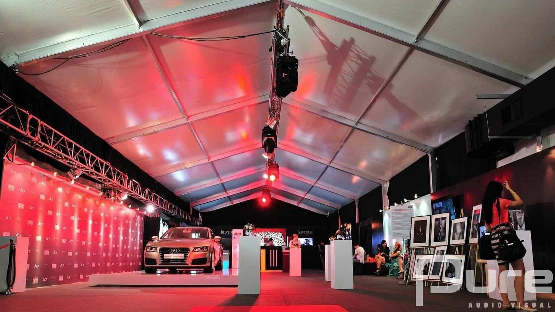 expo activation with lighting, staging and video gear