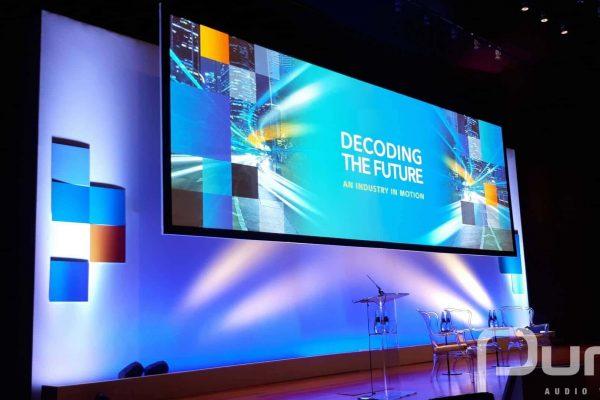 Conference. Custom Screen. Lighting. Podium